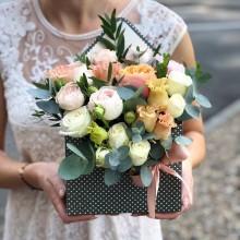 Flower Envelope №5 from pion-shaped roses, eustoma, eucalyptus