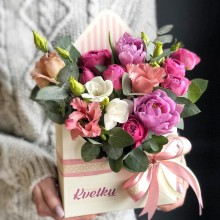 Flower envelope №6 of peony roses, freesia, eustoma, tulips