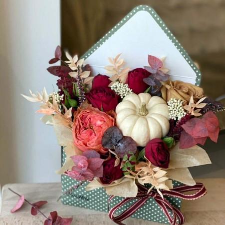 Flower envelope №7 of peony roses, freesia, eustoma, tulips