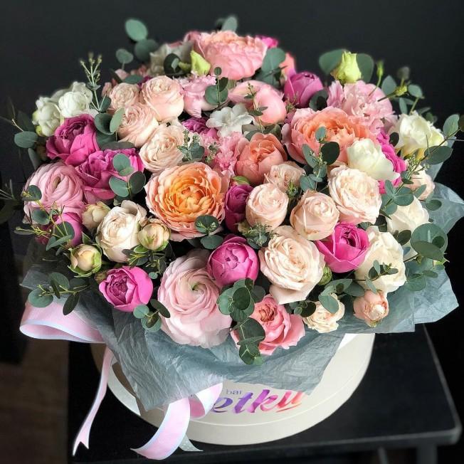 Flowers in box №74 of peony roses, ranunculus, freesia, eustoma