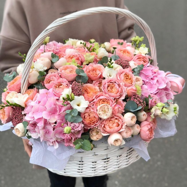 Basket of flowers №10 made of peony roses, hydrangeas, brunia, carnations