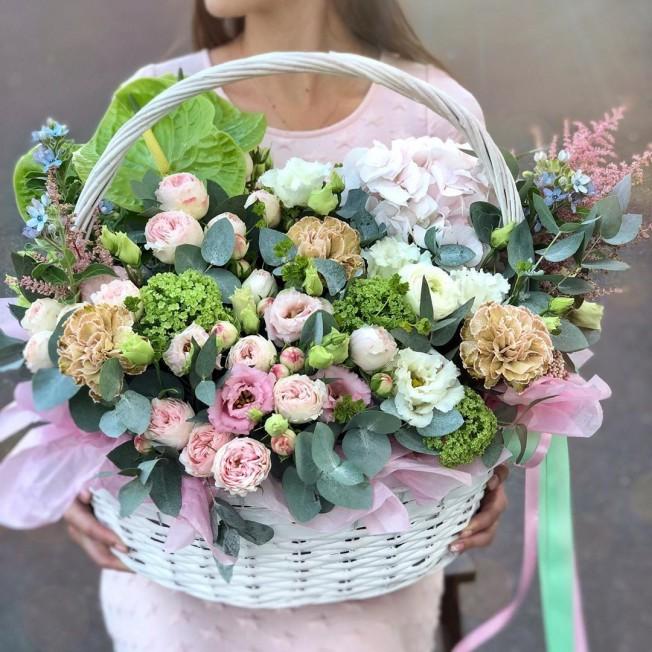 Basket of flowers №14 made of peony roses, hydrangeas, brunia, carnations