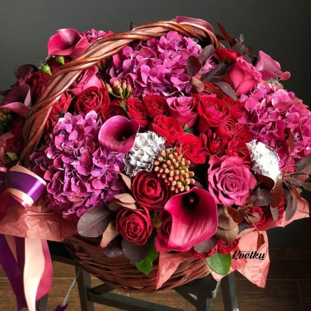 Basket of flowers №9 made of peony roses, hydrangeas, brunia, carnations