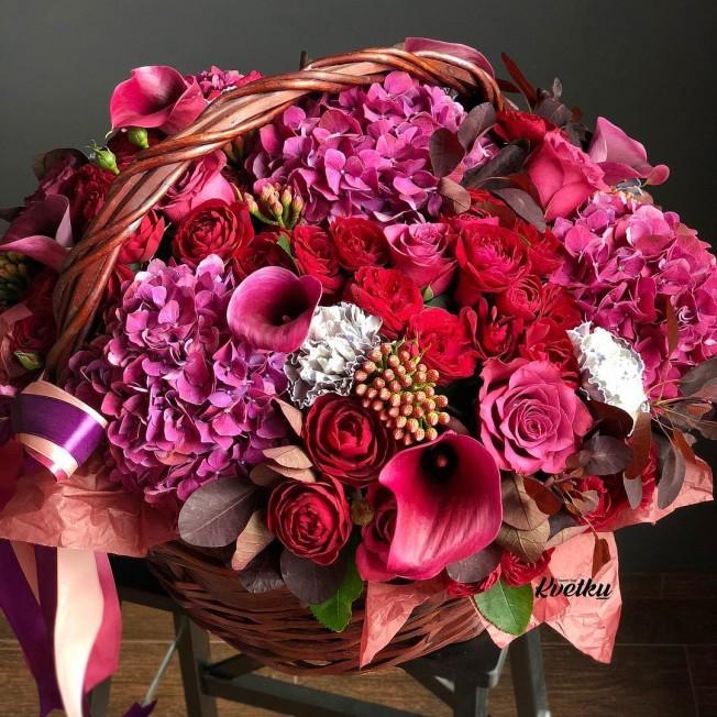 Basket of flowers №9 made of peony roses, hydrangeas, brunia, carnations