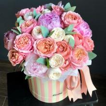 Flowers in box №24 - peony rose, peony