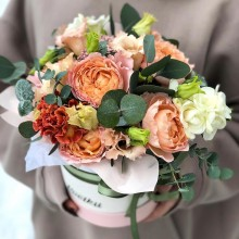 Flowers in box №73 - peony roses, eustoma, freesia, carnation, eucalyptus