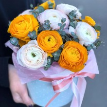 Flowers in box №75 - ranunculus, eucalyptus