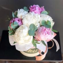 Flowers in box №77 - peonies, eucalite