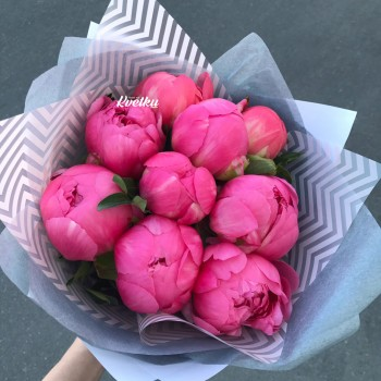 A bouquet of peonies Coral Charm - PRICE FROM