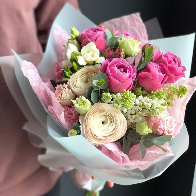 Bouquet of flowers №34 of lilac, peony roses, ranunculus, freesia