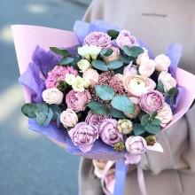 Bouquet of flowers №41 of peony roses, freesia, ranunculus, ozothamnus