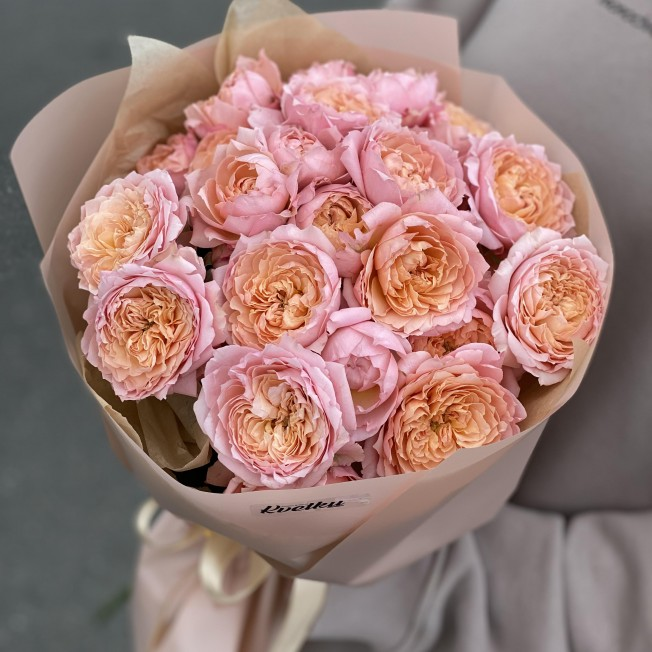 Bouquet of flowers №37 from bush peony roses Juliet