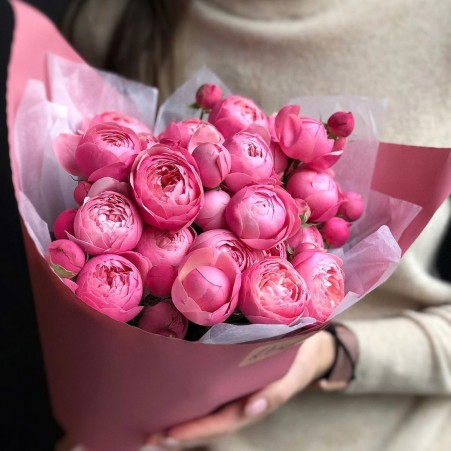 Букет цветов №17 из пионовидных роз Сильвия Пинк