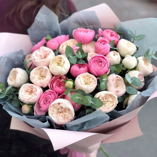 Bouquet of flowers №86 from peony roses Sylvia Pink, Mansfield Park