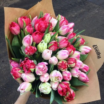 Bouquet of peony tulips - 55 pieces