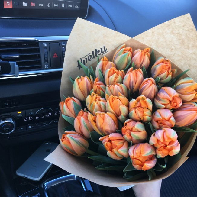 Bouquet of peony tulips Orange Princess