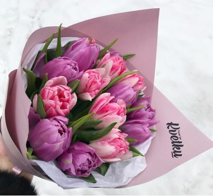 Bouquet of peony tulips - 15 pieces